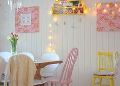 Cozinha fofa e romântica em rosa e azul