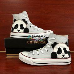 Men Women Panda Converse All Star Hand Painted Canvas Sneakers