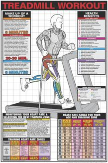 TREADMILL WORKOUT Professional Fitness Wall Chart Poster - Fitnus Corp.