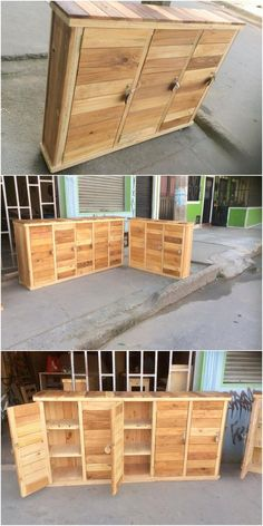 Here we have the outstanding idea of the wood pallet that is all set out in the creative designing of the shelving cabinet formation. It has been featuring out the impact of being the cupboard that has been all the more covered with the durable finishing of the wood pallet.