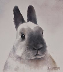"""Rabbit Portrait"" of a Himalayan.  Original watercolor sold, but Fine Art Prints and Greeting Cards are available for purchase at my website, www.SilvestriStudios.com."