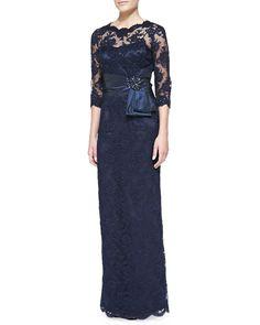 Rickie Freeman for Teri Jon 3/4-Sleeve Lace Overlay Gown, Navy