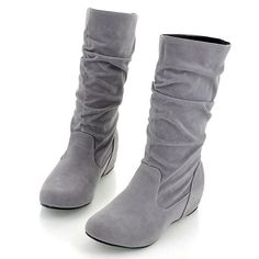 """Net Weight: 706g Five Color: Red, Gray, Black, Brown, Khaki Materials: upper (Faux Suede) Sole (Rubber Outsole) Boot Height: Mid-Calf Heel Height (Increased in Shoes): (4.2cm-1.64"""") Style: Women's Boo"""