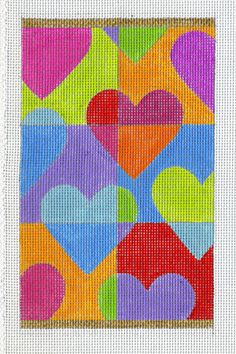 """Floating Hearts   by Ruth Schmuff Designs -   8167 - 18ct    You know you love EyeCandy's Floating Hearts; here it is sized to fit many of the Stirling Leather accessories. 4"""" x 6.5"""" Stitch painted on 18ct."""