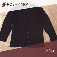 Black Button Down Cardigan Perfect condition but I can't read what the label says other than the size so I'm not sure of the brand Sweaters Cardigans