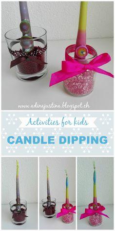 Activities for Kids: Candle dipping - Aktivity pro děti: Tažení svíček Craft Projects For Kids, Diy Crafts For Kids, Activities For Kids, Travel With Kids, Candles, Creative, Blog, Kids Craft Projects, Kid Activities