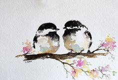 ORIGINAL pintura al acuarela romántica pareja de carbonero