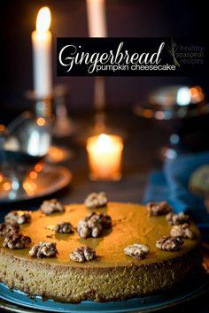 Gluten-free Gingerbread Pumpkin Cheesecake recipe for Christmas dessert on healthyseasonalrecipes.com