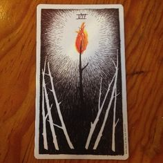 Seven of Wands, Wild Unknown tarot card meaning and description http://happyfishtarot.com/blog/seven-of-wands-wild-unknown-tarot/