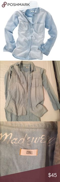 Madewell Ex-Boyfriend Chambray Shirt This light wash chambray shirt is a spring/summer staple. Madewell Tops Button Down Shirts