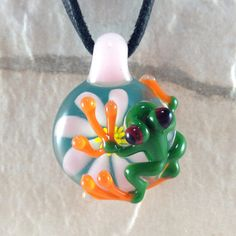 Frog and flower necklace glass beads pendant Handmade custom jewelry Lampwork beads Glass flowers Boro beads on Etsy, $19.99