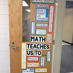 Looking forward to welcoming students to my math lab classroom next week! I ❤… Looking forward to welcoming students to my math lab classroom next week! I ❤️ the door I created today. It is such a good reminder that… Math Bulletin Boards, Math Boards, Math Teacher, Teaching Math, School Teacher, Teaching Ideas, Math Classroom Decorations, Classroom Ideas, Classroom Organization