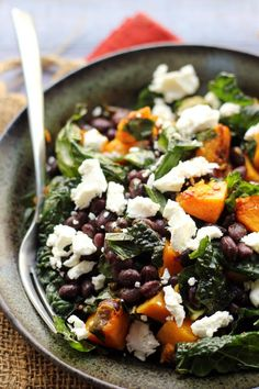 Butternut Squash and Smoky Black Bean Kale Salad | via Joanne Eats Well With Others