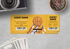 Basketball Theme Ticket Template for only $6 | Designs.net Graphic Design Programs, Basketball Tricks, Ticket Design, Ticket Template, Typography, Clip Art, Templates, Vector Stock, Banner