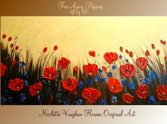 ORIGINAL Large 4ft x 2ft   gallery wrap canvas-Contemporary impasto   abstract  Poppies  painting by Nicolette Vaughan Horner. $275.00, via Etsy.