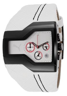 Puma Men's Podium Chronograph White Leatherette Silver-Tone Dial - Watch PU100051003,    #Puma,    #PU100051003,    #WatchesFashionQuartz