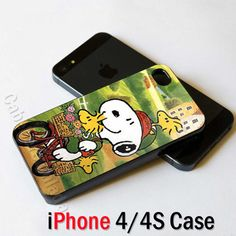 Peanuts Snoopy and Woodstock at Bicycle iPhone 4 Case