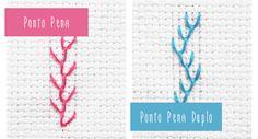 Aprenda a fazer o Ponto Pena e o Ponto Pena Duplo, pontos de laçada ótimos para desenhos de florais.