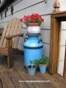 Re-purposing an Antique Milk Can - - Designed Decor Antique Milk Can, Vintage Milk Can, Milk Can Decor, Painted Milk Cans, Old Milk Jugs, Summer Deco, Cow Art, Backyard Projects, Backyard Ideas