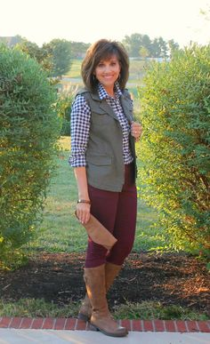 Styling a blue gingham shirt from Old Navy with burgundy pants and an olive vest.