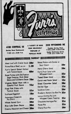 Furr's Cafeteria's Vintage Menu, Vintage Tools, Vintage Ads, Vintage Restaurant, Menu Restaurant, Furrs Cafeteria, Good Ole, Old Ones, Food Menu