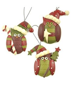 Owls With Candy, Star &Tree Ornaments