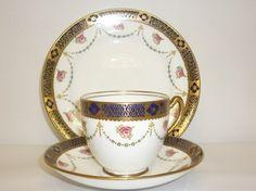 Royal Albert Crown China Vintage China Tea Set Tea Cup Trio Blue Floral Gold.