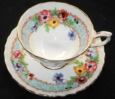 AYNSLEY ORANGE POPPY ANEMONE BLUE GOLD WIDE FOOTED TEA CUP #teacups
