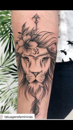 Uma tatuagem exclusiva e cheia de inspiração! Instagram @gizeletattoo! Leao , yoga ,força e delicadeza juntos ...