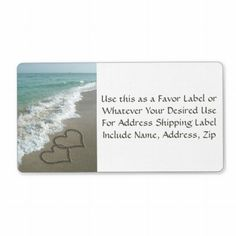 Sand Hearts on the Beach Favor or Mailing Label