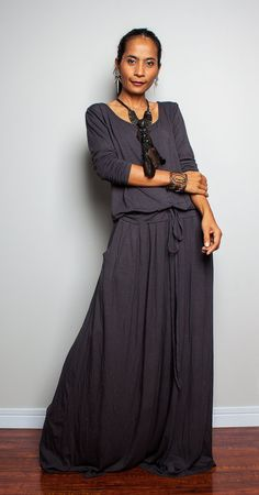 Maxi Dress Long Sleeve Navy Grey