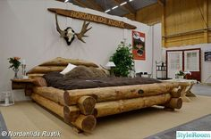 This rustic style bed is a beautiful piece of log furniture. Hand-crafted, it is really a very uniqu ...
