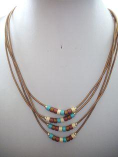 Multi Strand Bronze Copper Leather Necklace by DesignsbyPattiLynn