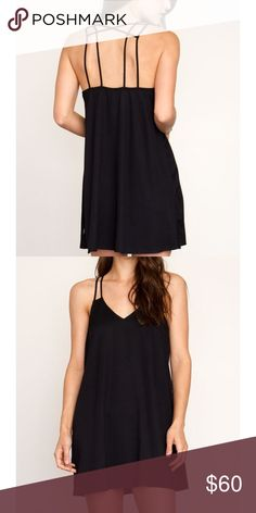 Little Black Dress The RVCA Sims Dress is a twill woven, V-neck strappy dress with a double strap detail over the shoulder and encased elastic along the top of the back of the dress for an easy fit. The dress includes a RVCA flag label at the wearer's left side seam. RVCA Dresses Mini