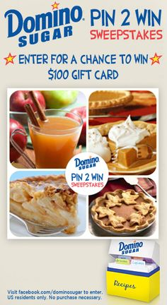 I entered the @RealDominoSugar Pin2Win #Sweepstakes for a chance to win 100.00 gift card! Enter now: https://www.facebook.com/dominosugar/app_376331892445661