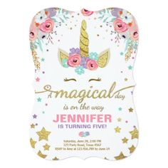 Unicorn Birthday Invitation Pink Gold Magical - glitter glamour brilliance sparkle design idea diy elegant