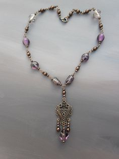 Homemade necklace / ladies jewelry / brown glass beads / purple and lilah lampwork beads / victorian pendant JHFWBeadsAndFindings