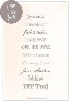I love Free Fonts! http://dreierlei-liebelei.blogspot.de/