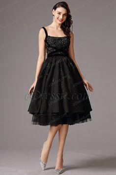 Flattering Black Vintage Layered Cocktail Dress Party Dress