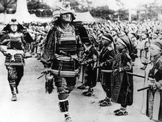 Samurais at a pageant in Japan, between the two World Wars, 1930.