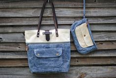 This is the Noodlehead Caravan Tote pattern, sewn in waxed fabric to make it a waterproof tote!