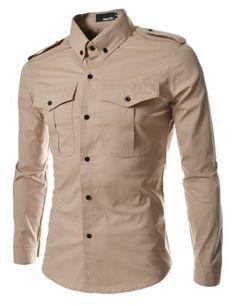 TheLees Mens slim fit strap big pocket shirts Beige Medium(US Small) African Men Fashion, Mens Fashion, Best Casual Shirts, Camisa Slim, Estilo Cool, Slim Fit, Mens Clothing Styles, Kaftan, Shirt Outfit