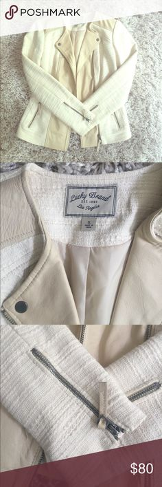 Lucky Brand Cream Moto Jacket Cream motorcycle jacket with faux leather shoulder visna's front lining. Never worn - got as a gift but too big on me! Lucky Brand Jackets & Coats