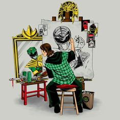 Awesome Tommy fan art! Dino Rangers, Pawer Rangers, O Maskara, Power Rangers Fan Art, Right In The Childhood, Green Ranger, Mighty Morphin Power Rangers, Cartoon Shows, Nerd Geek