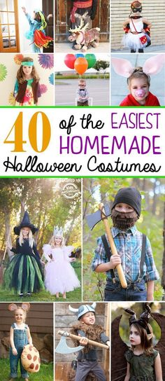 Keep this amazing list of over 40 Easy Homemade Costumes for Kids nearby because Halloween is fast approaching! There's something special and fun about homemade costumes that everybody loves. Easy Homemade Halloween Costumes, Childrens Halloween Costumes, Easy Halloween Costumes Kids, Easy Diy Costumes, Kids Costumes Boys, Halloween Kostüm, Costume Ideas, Halloween Couples, Halloween Recipe