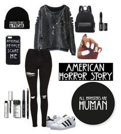 """American Horror Story"" by hipstergiirl ❤ liked on Polyvore featuring Topshop, adidas Originals, Charlotte Russe, NYX and Bobbi Brown Cosmetics"