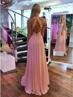 A-Line V-Neck Open Back Pink Prom Dress with Appliques, Shop plus-sized prom dresses for curvy figures and plus-size party dresses. Ball gowns for prom in plus sizes and short plus-sized prom dresses for Gold Prom Dresses, Chiffon Evening Dresses, Prom Dresses For Sale, Bridesmaid Dresses, Pink Dresses, Pretty Dresses, Beautiful Dresses, Wedding Dresses, Chifon Dress