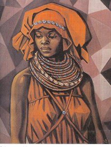 """Painting """"Woman"""" by Angolan Painter Neves Sousa (African Art)"""