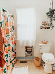 College Apartment Bathroom, Dorm Bathroom, Peach Bathroom, Bathroom Mat Sets, Bathroom Shower Curtains, Upstairs Bathrooms, College Bathroom Decor, Peach Shower Curtain, Colorful Shower Curtain