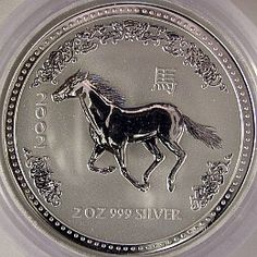 2002 Year of the Horse - Australian Silver Lunar Bullion Coin - Series One - Reverse Side